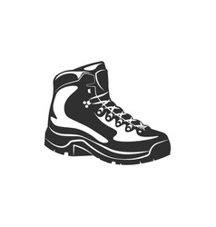 hiking boot shoe black and white vector image vector image