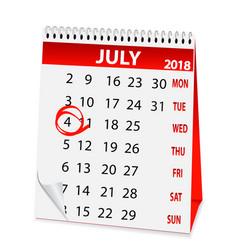 Icon calendar for july 4 2018 vector