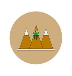 In flat design of volcano vector