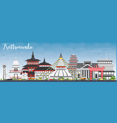 kathmandu skyline with gray buildings and blue sky vector image vector image