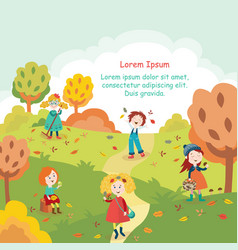 Kids children having fun in fall autumn park vector