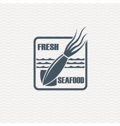 Monochrome seafood icon vector