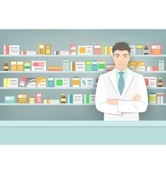 Pharmacist at counter in pharmacy opposite shelves vector