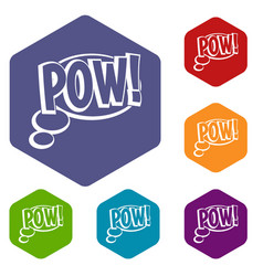 Pow speech bubble icons set hexagon vector