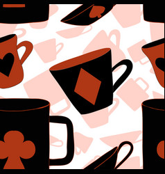 Red cups with cards suits from wonderland vector