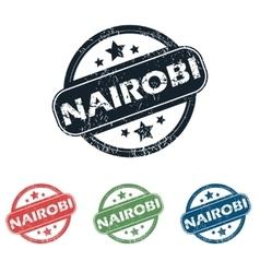 Round Nairobi city stamp set vector image