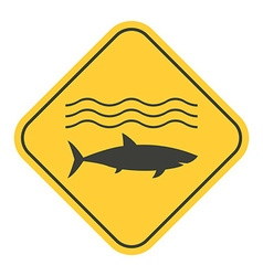 Shark danger yellow sign vector