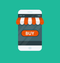 Shopping online - e-commerce app for smartphone vector