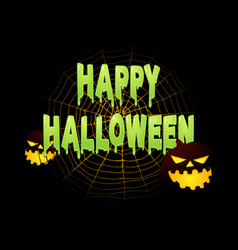 Slimy happy halloween text with halloween vector