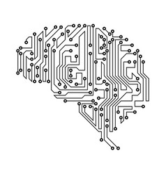 Stylized brain circuit board texture electricity vector