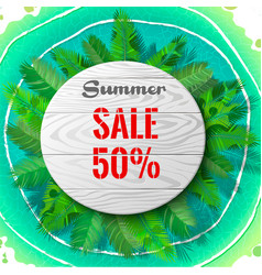 summer sale in palm leaves vector image