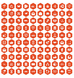 100 post and mail icons hexagon orange vector