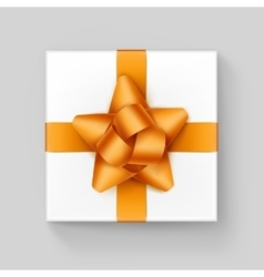 White square gift box with yellow ribbon bow vector