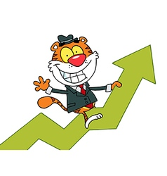 Happy tiger riding on success vector