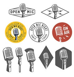 Set of vintage retro microphone emblems logos vector