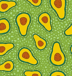 Avocado stitch patch icon on seamless pattern vector