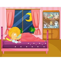 A girl sleeping soundly in her room vector image