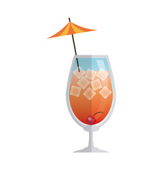 Alcohol drink icon cold cocktail with umbrella in vector