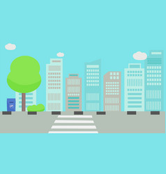 main street in city with sky vector image
