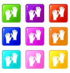 medical gloves set 9 vector image