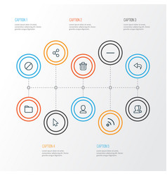 User outline icons set collection of group undo vector