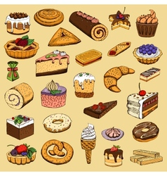 Collection of sweet pastries vector