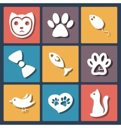 Flat pet cat icons set vector