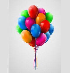 3d realistic colorful bunch of flying birthday vector