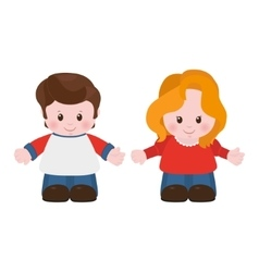 Boy and girl cartoon style vector image