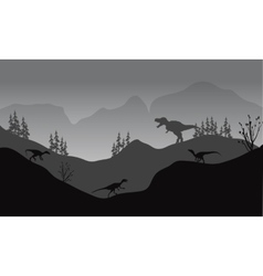 Silhouette of eotaptor and t-rex vector