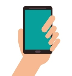 Hand holding modern cellphone icon vector