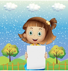 A small girl holding an empty paper near the fence vector