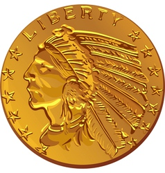 American dollar gold coin vector
