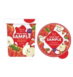 Apple yogurt packaging design template vector