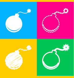 Bomb sign four styles of icon on vector