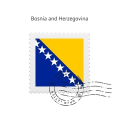 Bosnia and herzegovina flag postage stamp vector