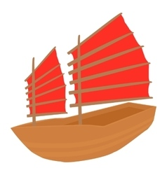 Chinese ship icon cartoon style vector
