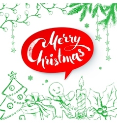 Christmas with lettering vector