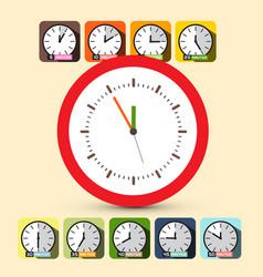 Clock set five to twelve vector