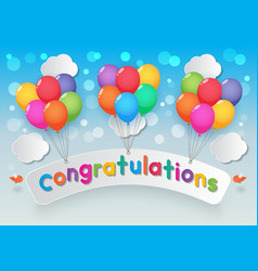 congratulations balloons sky background vector image
