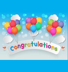 Congratulations balloons sky background vector