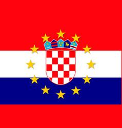 Croatia national flag with a circle of eu vector