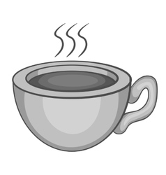 Cup of hot tea icon gray monochrome style vector image