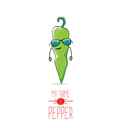 funny cartoon green pepper character vector image vector image