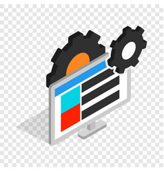 Gears and computer monitor isometric icon vector