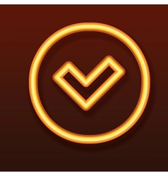 Glowing golden icon Tick in a circle vector image