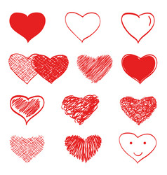 Hand drawn hearts set vector