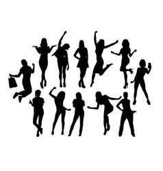 Happy woman activity silhouettes vector