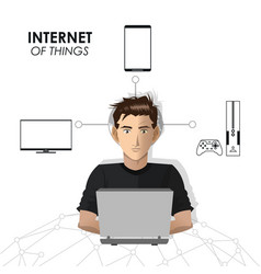 Internet of things man network game mobile tv vector