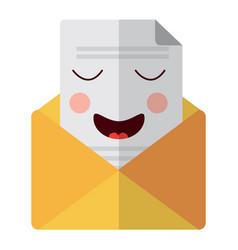 Kawaii email envelope letter message cartoon vector